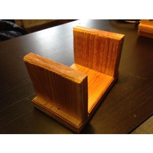 Set of 4 wood coasters with caddy