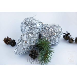 "Set of Christmas tree toys ""Silver Frost"""
