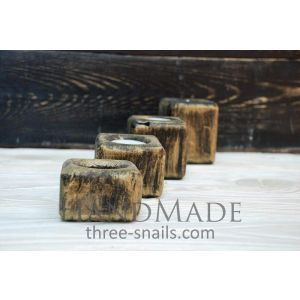 "Set of wooden candleholders ""Pine hut"""