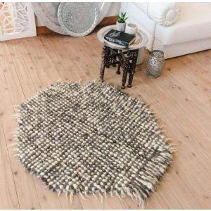 "Shag round rug gray white ""Pixel"""