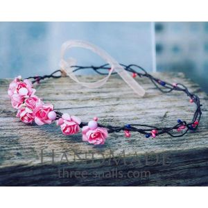 "Short hair accessories. Hair band ""Pink roses"""