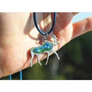 "Silver pendant ""Wise moose"""