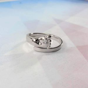 "Silver ring with cubic zirconia stone ""Baby foot"""