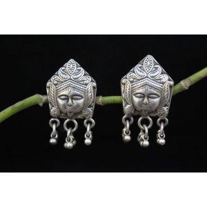Silver tribal earrings