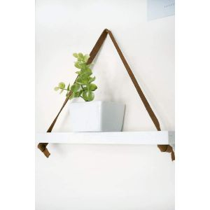 Small hanging wall shelf with leather straps