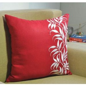 Sofa pillow case with embroidered leaves