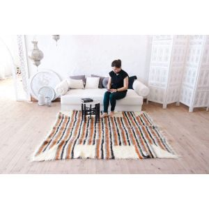 "Soft oriental rug with bright brown stripes ""Orange stripes"""
