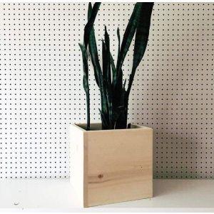 Square box natural wood planter