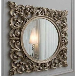 Square wood mirror