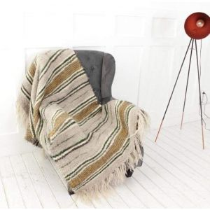 "Striped wool throw for sofa ""Gray and olive stripes"""