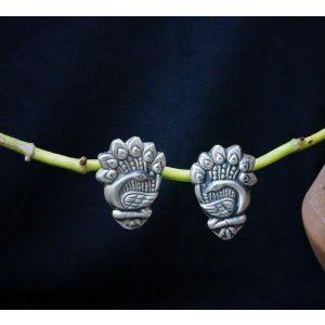 Stud boho earrings peafowls