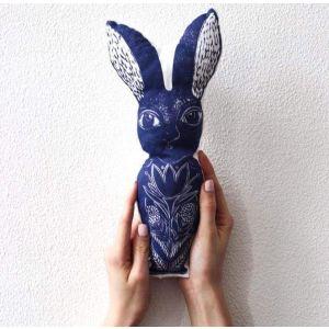 "Stuffed handmade toy ""Printed Hare"""
