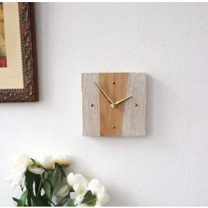"Stylish modern wooden wall clock ""Beige and white stripes"""