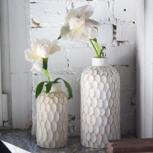 Tabletop white flower vase