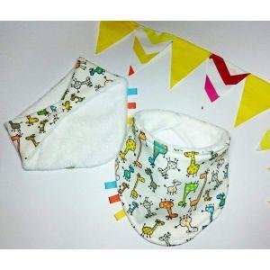 "Terrycloth baby bandana bib ""Multicolored giraffes'"