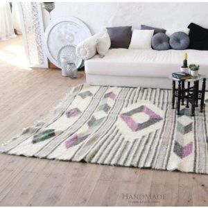 "Throw rug ""Geometric purple pattern"""
