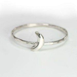 Tiny moon silver ring