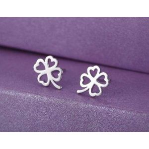 "Tiny silver studs ""Clover for luck"""