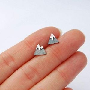Tiny silver studs - mountains