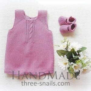 Toddler knitted romper and booties set