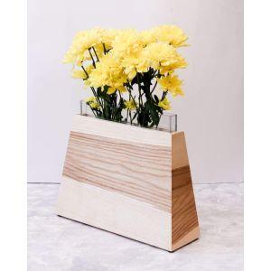 Trapezoid wooden flower vase