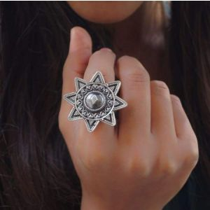 Tribal ring for women - eight-pointed star