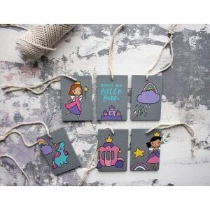 Unicorn and Princess wooden hanging set