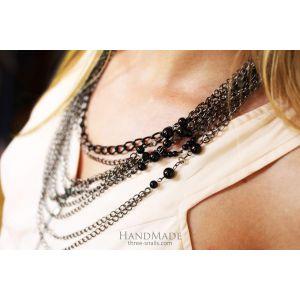 """Unusual necklaces. Large chain necklace """"Vogue black"""""""