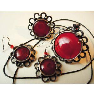 "Vintage copper jewelry set ""Vinous diamonds"""