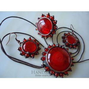 "Vintage copper set ""Red diamonds"""
