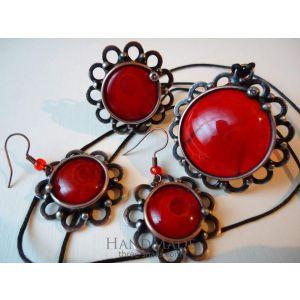 """Vintage copper set """"Red Rose"""""""
