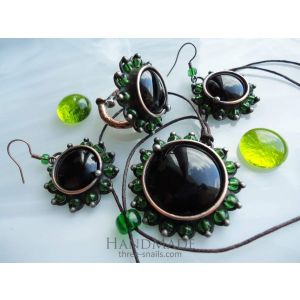 "Vintage jewelry set ""Black emerald"""