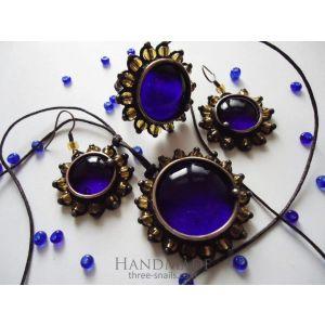 "Vintage jewelry set ""Ultramarine diamonds"""