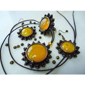 "Vintage style copper jewelry set ""Yellow diamonds"""