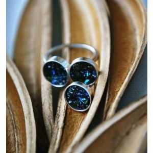 Volcanic glass jewelry set