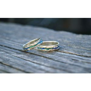 "Wedding bands with enamel ""Blue River"""