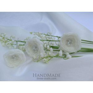 "Wedding hair accessories. Hairpin ""White roses"""