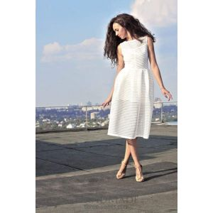 White handmade dress with stripes