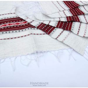 "White linen napkins ""Burgundy pattern"""
