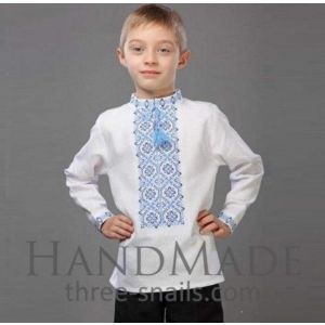 "White shirt for boys ""Lazur-blue"""
