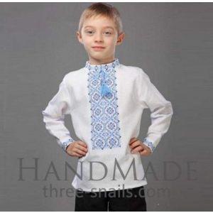 "White shirt for boys ""Lazur-blue"""