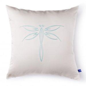 "White decorative cushion ""Dragonfly"""