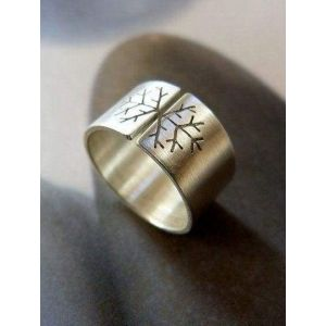 Wide silver band with snowflake