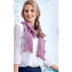 Women knitted scarf with pom poms