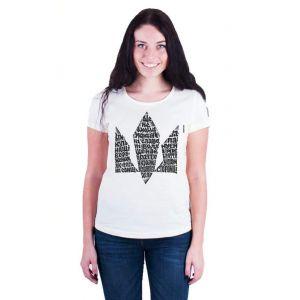 Womens cotton t shirts. White t shirt «Hymn»