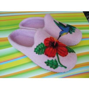 "Womens house slippers ""Blue Hummingbird"""