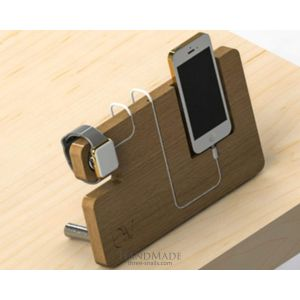 "Wood iphone stand ""All in one"""