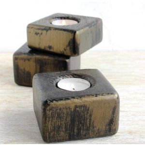 Wooden candle holder set of 3
