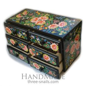 "Wooden decorative chest ""Evening and flowers"""