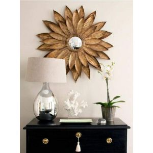 Wooden flower mirror